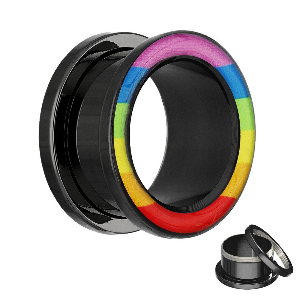 motiv flesh tunnel schwarz regenbogen 14 mm. Black Bedroom Furniture Sets. Home Design Ideas