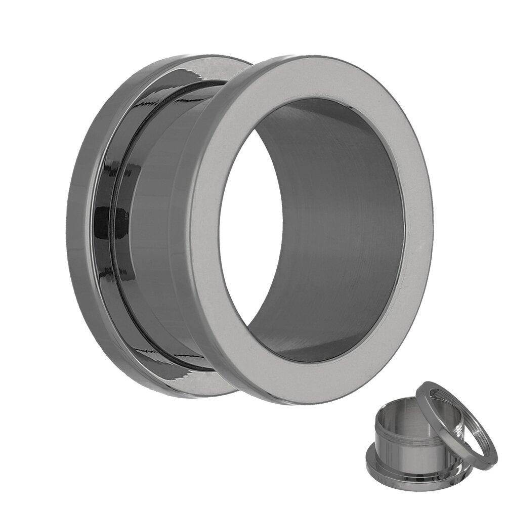 titan flesh tunnel silber mit gewinde schraubverschluss zum schrauben. Black Bedroom Furniture Sets. Home Design Ideas