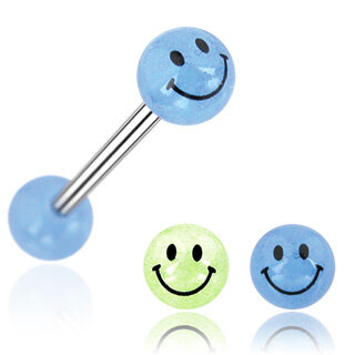 Glow in the dark - Piercing Stab - Smiley [02.] - blau