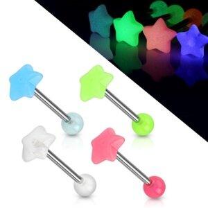 Zungenpiercing glow in the dark Sterne leuchten im Dunkeln Barbell Piercing Stab