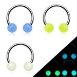 Piercing Hufeisen - Glow in the dark [1.] - 1.2 x 10 x 4...