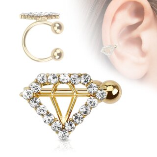 Ear Cuff - Gold - Diamant - Kristalle