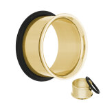 Single Flare Flesh Tunnel - Stahl - Gold