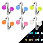 Spirale Piercing - Stahl - Silber - Glow in the dark