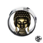 Flesh Tunnel - Silber - Buddha 10 mm