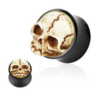Kunststoff Flesh Totenkopf Tunnel Ohr Piercing SCHWARZ 4mm-12mm mit Kristallen