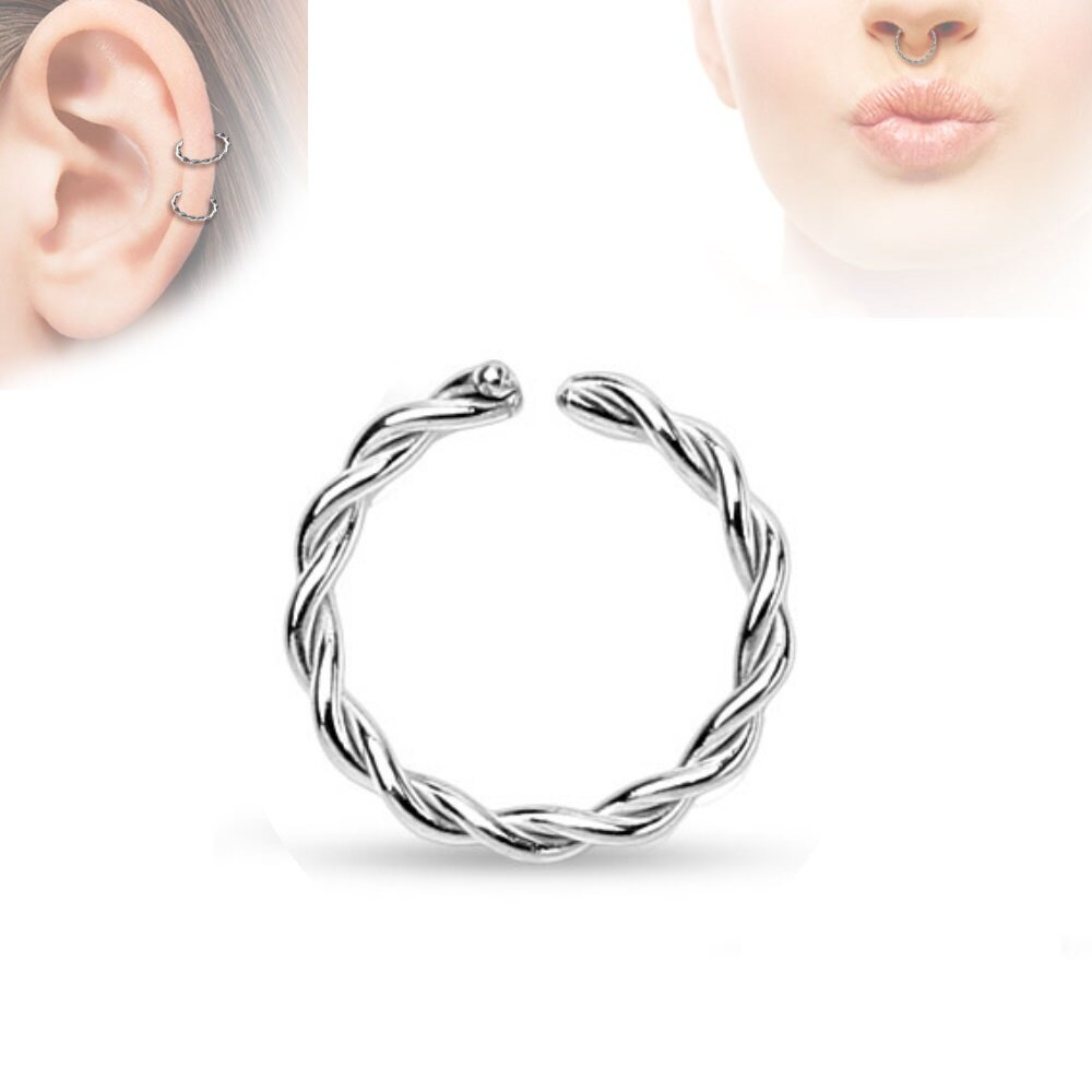 Piercing ring continuous ring silber gedreht - Lippenpiercing ring ...