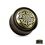 Holz Plug - Schwarz - Gold - Ornament - Tribal 10 mm