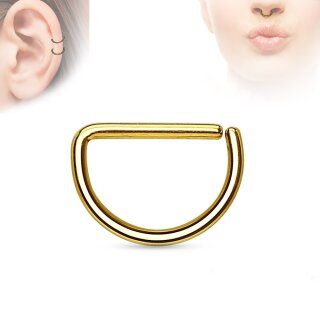 Piercing Ring - Continuous Ring - Halbrund - Gold