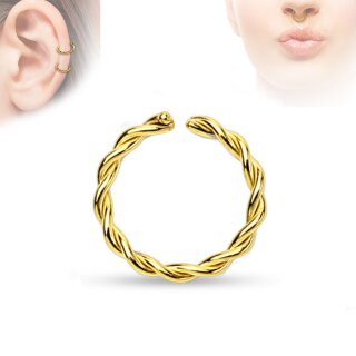 Piercing Ring - Continuous Ring - Gold - Gedreht