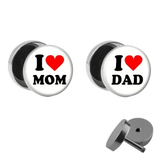 Motiv Fake Plug Set - I love Mom and Dad