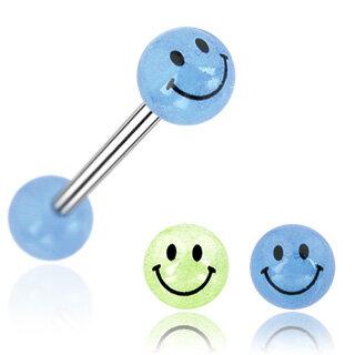 Brust Piercing Stab mit Smilies Kette Brustwarzen Schmuck Smiley Emoji Stecker