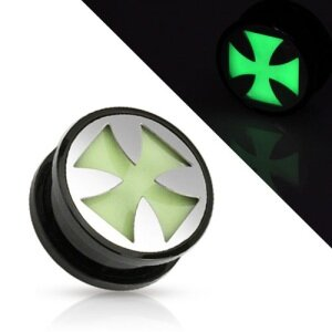 Ohr Plug - Glow in the dark - Silber - Eisernes Kreuz