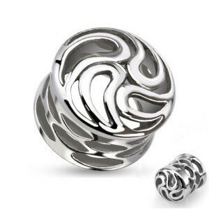 Flesh Tunnel - Stahl - Silber - Ornament