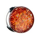Ohr Plug - Double Flare - Glitzer - Gold - Orange 8 mm