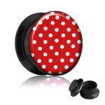 Picture Plug - Gewinde - Polka Dots - Rot 14 mm