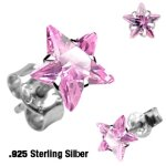 Sterling Silber Ohrstecker - Stern Kristall - Pink [02.]...